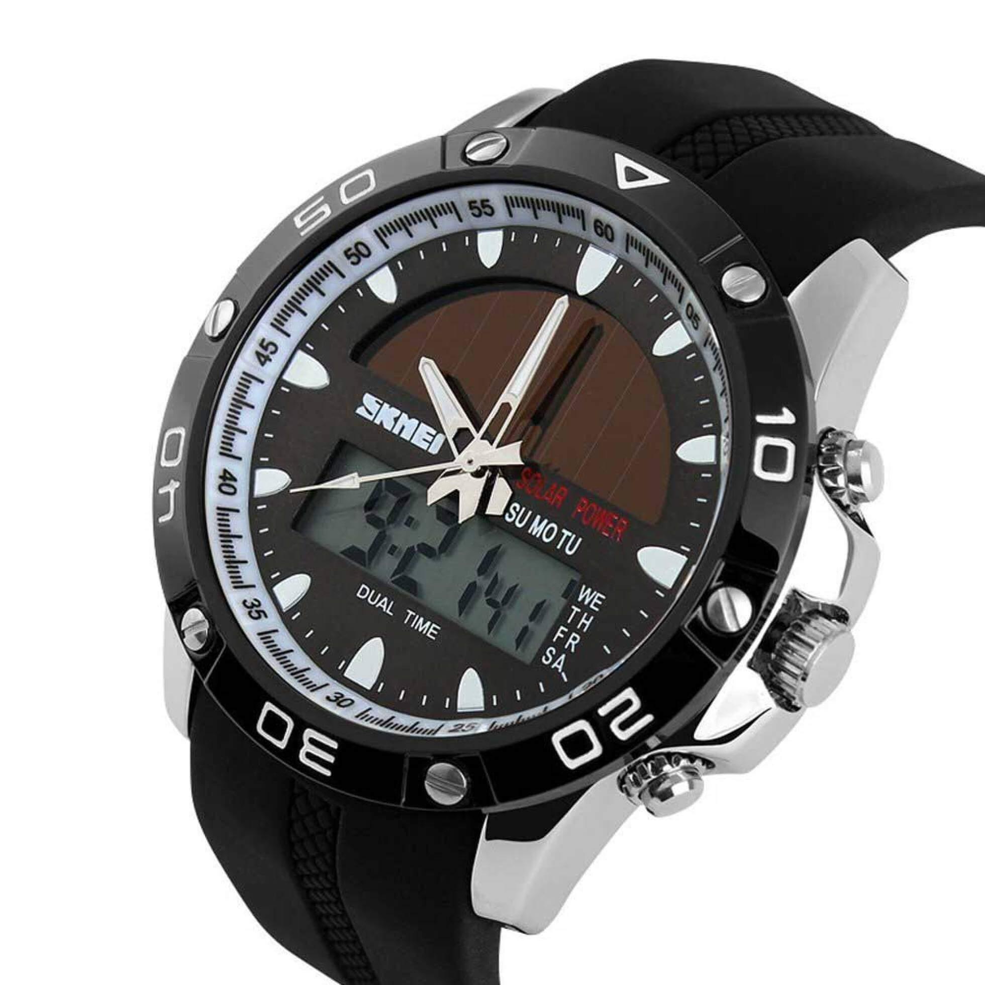 Reloj digital y analógico solar